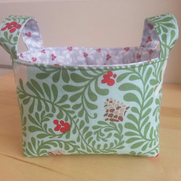 CIJ ~ Small Fabric Storage Bin Basket ~ Holly and Pine Cone