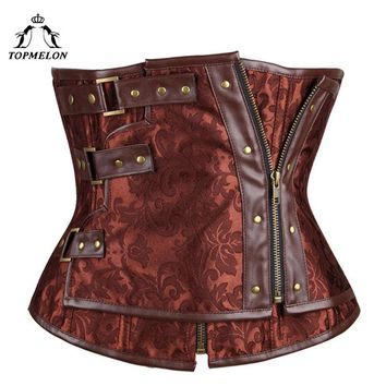TOPMELON Underbust Corset Bustier Gothic Corselet Corset Women Steampunk Modeling Strap Brown  Leather Floral Party Shows Tops