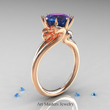 Art Masters Scandinavian 14K Rose Gold 3.0 Ct Alexandrite Blue Topaz Dragon Engagement Ring R601-14KRGBTAL