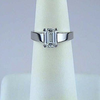1.53ct Emerald cut Diamond Engagement Ring Platinum GIA certified JEWELFORME BLUE