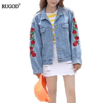Trendy RUGOD New Rose Embroidery Boyfriend Denim Jacket FemaleAutumn Women Jackets and Coats Femme Single Breasted Casual Fall Jacket AT_94_13