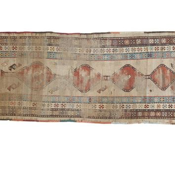 3.5x9 Antique Caucasian Rug Runner