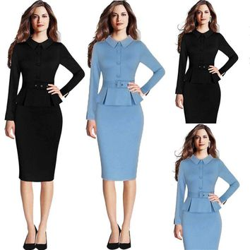 women elegant vintage peplum lapel wear workformal pencil sheath dress