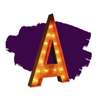 "36"" Letter A Lighted Vintage Marquee Letters (Rustic)"