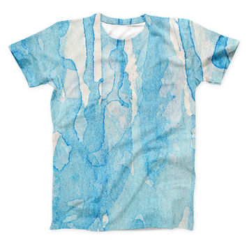 The Blue Watercolor Drizzle ink-Fuzed Unisex All Over Full-Printed Fitted Tee Shirt