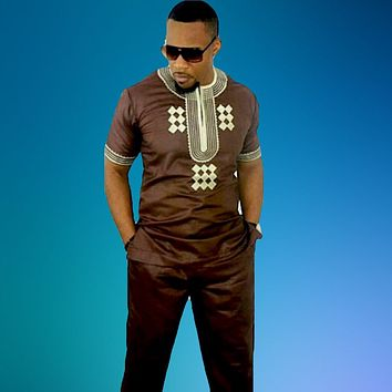 Chocolate Traditional African Print Men's Suit