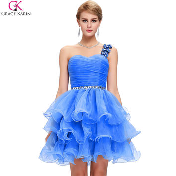 Robe Grace Karin Cocktail Dresses 2017 Organza Tutu White Gray Purple Blue One Shoulder Formal Gowns Pretty Cocktail Party Dress