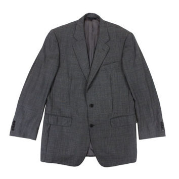 Brooks Brothers Sport Coat in Grey Plaid - Jacket Blazer Suit Blue Wool Ivy League Menswear - Men's Size 43 Long Large L