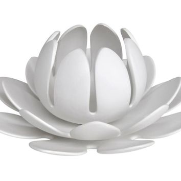 Lotus Flower 3 Piece Tea Light Candle Holder, White