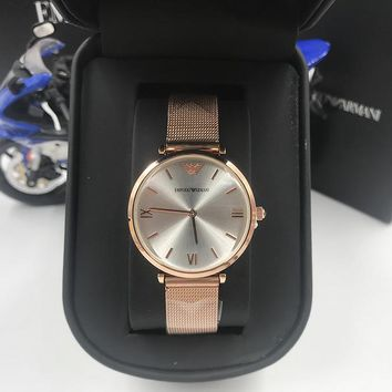 HCXX A007 Armani Emporio Steel band ladies simple small fresh waterproof quartz watches Rose Gold Sliver