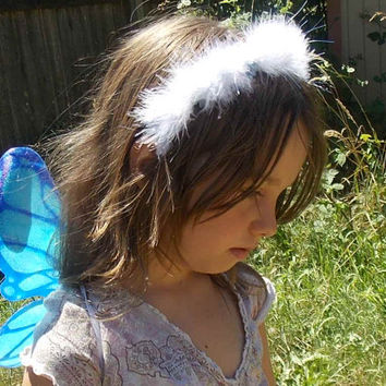 Snowy White Feather Headband with Silver Tinsel and Blue Flowers with Pearls