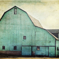 Aqua Barn 24x36 Gallery Wrapped Canvas Fine Art Photography Shabby Chic Mint Green Turquoise Teal Country Rustic Home Decor Wall Art