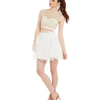 Sequin Hearts Lace Scalloped Bodice Two-Piece Dress | Dillards