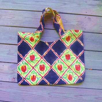Fabric Tulip Print Tote Bag