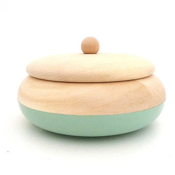 Round wooden box, mint green dipped wood box, medium jewelry box, simple home decor