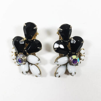 Black & White Rhinestone Earrings Vintage 1950s 1960s Mid Century Prong Set AB Crystal Glass Clip Ons Navette Pear Round Cluster Rhinestones