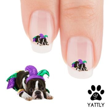 "Boston Terriers ""Ready for Mardi Gras"" Nail Art Decals ( Now 50% More FREE)"