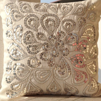 Ivory white throw pillows with silver sequins - Dazzling pillow cover- Cushion cover zipper - Throw pillow - Spring Summer gift - 16X16