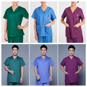 Men's Medical Hospital Nursing Clinic Scrub Set Uniform Unisex Tops & Pants DAJ9067