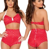 Red Polka Dot High Waisted Pin Up Bikini Set - XLARGE