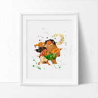 Moana & Maui Watercolor Art Print