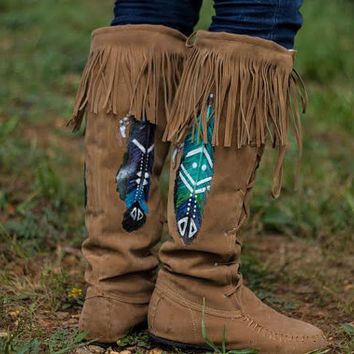 Tribal Dance - Hand Painted Moccasins