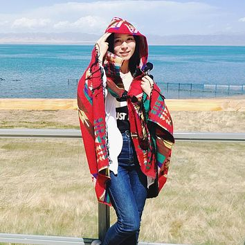 Fashion Pashmina Women Scarf Warm Winter ethnic flowers Scarf Shawl Reversible Cape Wraps Blanket Warm Poncho Fringe Hooded