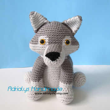 Crocheted Realistic Grey Wolf -Amigurumi-OOAK- Ready to Ship