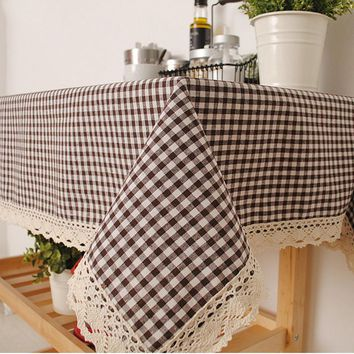 2017 New Arrival Plaid Table Cloth With Lace Edge Pastoral Tablecloth Decorative Elegant Table Cloth Linen Table Cover