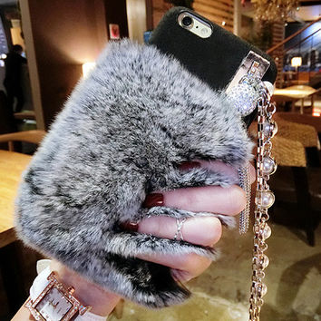 New Rabbit Fur Chain Cell Phone Case for iphone 7 for iphone 7 plus for iphone 6 6s for iphone 6s, Customize Gifts Phone Case