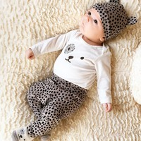 2017 New style baby clothing set long sleeve Cartoon fashion T-shirt+pants+hat 3pcs/suit outfits newborn baby boy girl clothes