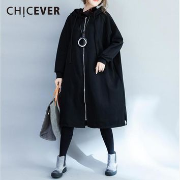 CHICEVER Winter Plus Velvet Thick Black Trench Coat Female Windbreaker Long Sleeve Loose Big Size Women Coats Clothes Fashion