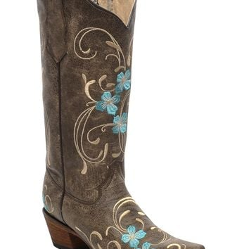 CORRAL Women's Cowhide Floral Cowgirl Boot Snip Toe - L5255