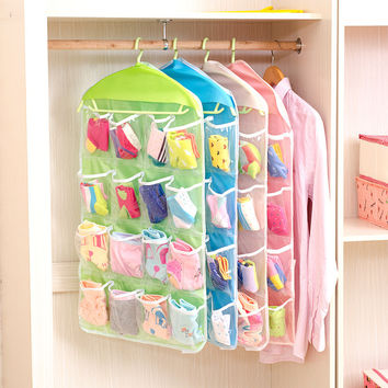 LASPERAL 16 Pockets Wall Wardrobe Hanging Organizer Home Sundries Jewelry Storage Bags Hanger Organizer For Underwear Cosmetics