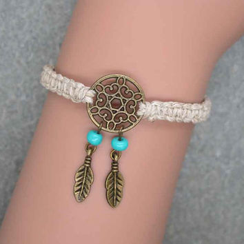 Antique Bronze Dream Catcher Bracelet , Hemp Bracelet, Feather Bracelet , Beads Bracelet ,Native American Jewelry