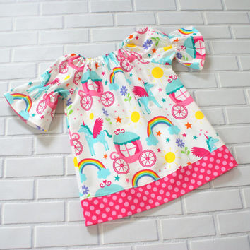 Girls Dress Peasant Unicorn Rainbow Princess Boutique Clothing By Lucky Lizzy's