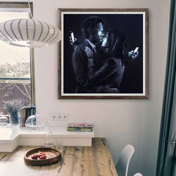 Banksy Kissing Couple Wall Art Poster Print - Cell phone Addiction Printing Room Decor - Mobile Street Graffiti Home Printable Painting