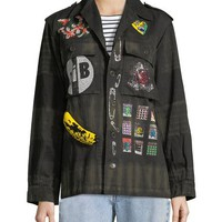 Libertine Crystal Collage Beaded Army Jacket