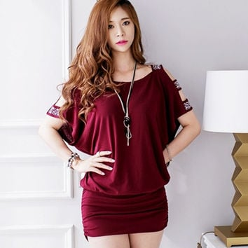2015 Korean Style Strapless Loose Plus Size Package Hip Short Sleeve Sexy Mini Party Club Dress = 1931430084
