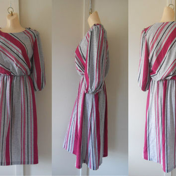 Hot Pink Dress 80s Dress Spring Dress Secretary Dress Light Gray Dress Puff Sleeve Dress Casual Dress Striped Dress Work Dress Day Dress