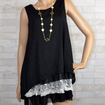 Saddle Me Up- Sassy Bling-Layer Look Tunic Top- Black