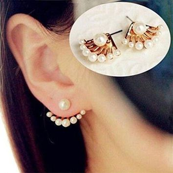 DCCKG2C 1Pair Women Lovely Crystal Earrings Pearl Ear Stud Front and Back Earbob