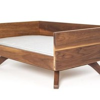 Mid-Century Inspired Modern Wood Dog Bed, Joey High Back by Pup & Kit