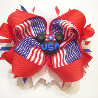 Patriotic Pride Minnie Mouse Boutique Bow