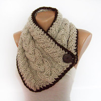 Chunky Button Scarf, Cable Knit Neck Warmer, Oatmeal Cowl, Hand Knitted, Mens, Womens, Winter Accessories