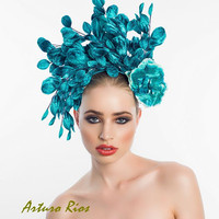 Cascade Vintage Velvet leafs Fascinator, Cocktail hat, Headpiece