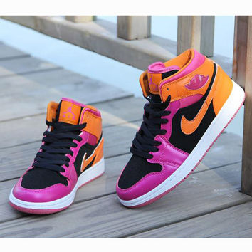Nike Air Jordan Retro 1 High Tops Contrast Sports shoes Rose orange hook G-CSXY