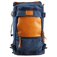 Navy Blue and Tan Vegan Leather Backpack