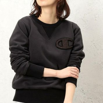 One-nice™ Champion Embroidery Round Collar Long Sleeve Sweater Top Black