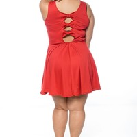 Sashay Season Plus Size Back Bow Dress - Red